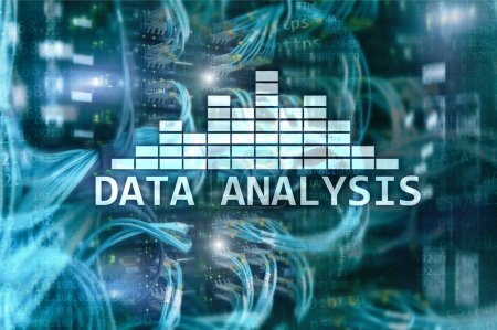 Big Data analysis text on server room background. Internet and modern technology concept.