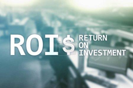 Photo pour ROI - Rendement de l'investissement, marché financier et concept de négociation d'actions . - image libre de droit