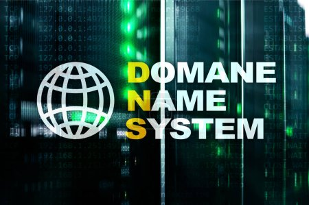 Dns - domain name system, server and protocol. Internet and digital technology concept on server room background.