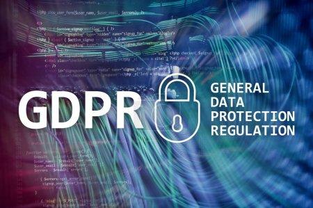 Foto de Gdpr, cumplimiento de Reglamento de protección de datos generales. Fondo de sala de Server. - Imagen libre de derechos