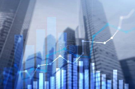 Photo pour Graphique de croissance financière.Augmentation des ventes, concept de stratégie marketing - image libre de droit