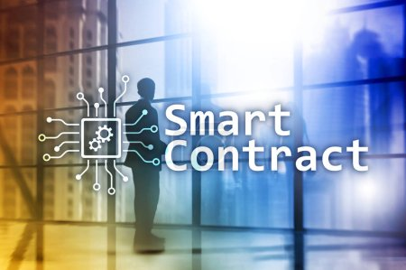 Photo pour Contrat intelligent, technologie blockchain dans les affaires, finance concept high-tech. Gratte-ciel fond . - image libre de droit