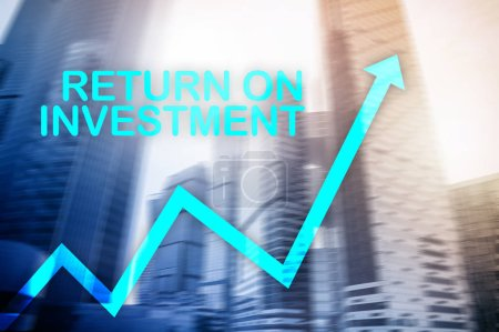 ROI - Return on investment. Stock trading and financial growth concept on blurred business center background.