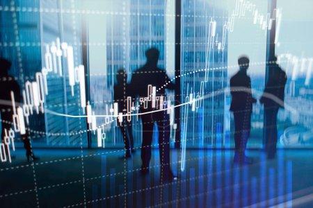 Foto de Comercio de divisas, Mercado financiero, Concepto de inversión en el fondo del centro de negocios. - Imagen libre de derechos