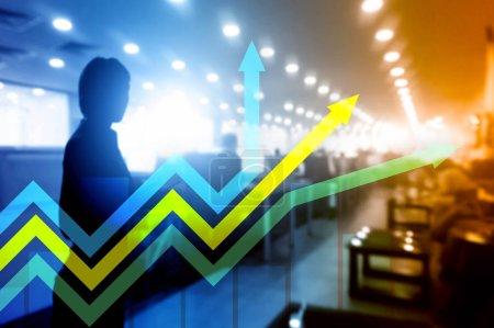 Photo pour Graphique des flèches de croissance financière. Concept d'investissement et de négociation . - image libre de droit