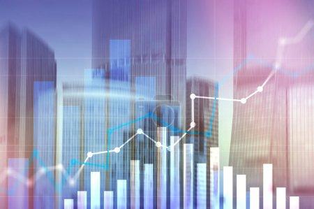Photo pour Graphique de croissance financière. Augmentation des ventes, concept de stratégie marketing - image libre de droit