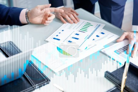 Photo for Stock trading candlestick chart and diagrams on blurred office center background. - Royalty Free Image