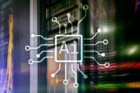 Photo pour IA, intelligence artificielle, automatisation et concept de technologies modernes de l'information sur écran virtuel. - image libre de droit