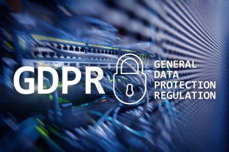 Photo pour PIBR, conformité de règlement pour le protection des données générales. Fond de salle serveur - image libre de droit