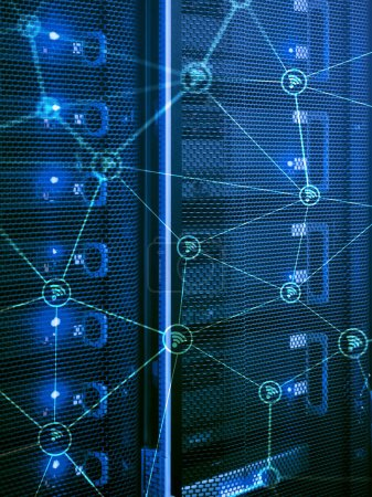 Wi fi network abstract structure on modern server room background.