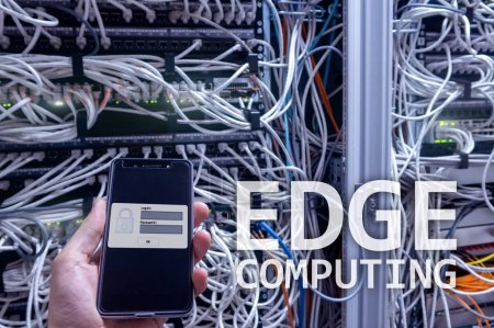 Photo for EDGE computing, internet and modern technology concept on modern server room background. - Royalty Free Image