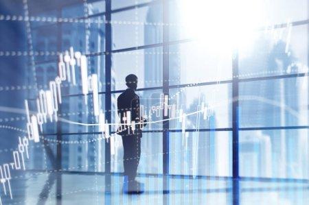 Photo pour Forex trading, Marché financier, Concept d'investissement sur fond de centre d'affaires. - image libre de droit