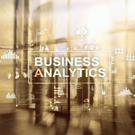 Business analytics concept on double exposure background.