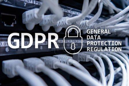 Photo pour PIBR, conformité de règlement pour le protection des données générales. Fond de salle serveur. - image libre de droit