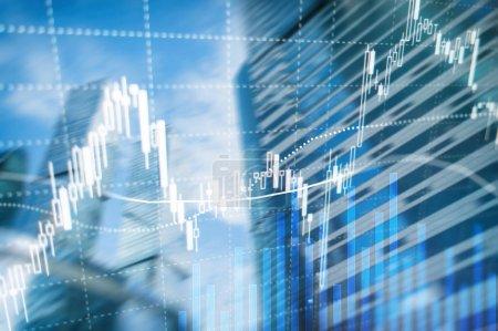 Photo pour Trading Forex, marché financier, concept d'investissement sur fond de business centre. - image libre de droit