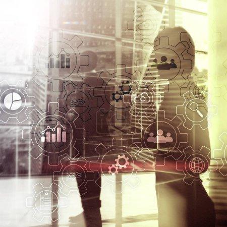 Photo pour Diagramme abstrait des processus d'affaires avec des engrenages et des icônes. Concept de technologie de flux de travail et d'automatisation. - image libre de droit