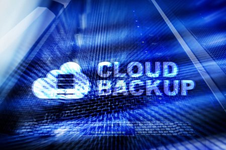Foto de Copia de seguridad de la nube. Prevención de pérdida de datos de servidor. Seguridad cibernética - Imagen libre de derechos