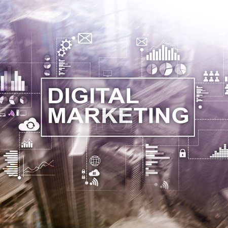 Photo for Digital marketing concept on double exposure background. - Royalty Free Image