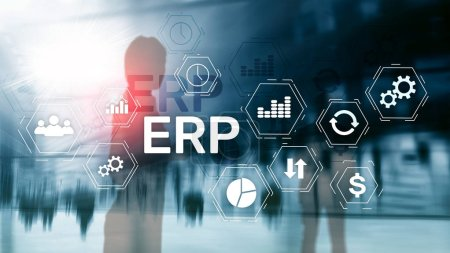 Photo for ERP system, Enterprise resource planning on blurred background. Business automation and innovation concept. - Royalty Free Image