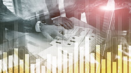 Photo for Business and finance graph on blurred background. Trading, investment and economics concept. - Royalty Free Image