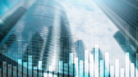 Photo pour Graphique des affaires et des finances sur fond flou. Concept de trading, d'investissement et d'économie. - image libre de droit