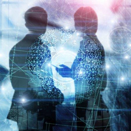 Photo pour Hologramme 3D de la terre, Globe, Www, Global Business and Telecommunication. - image libre de droit