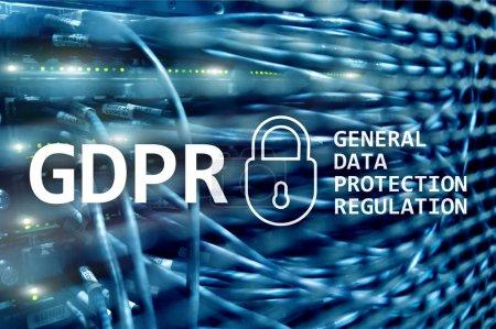 Photo pour RGPD, Conformité au règlement général sur la protection des données. Fond de la salle serveur . - image libre de droit