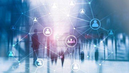Photo pour Structure du réseau des personnes à double exposition RH - Concept de gestion et de recrutement des ressources humaines - image libre de droit