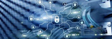 Photo pour Cyber-sécurité, protection des données, des renseignements personnels. Concept Internet et technologie - image libre de droit
