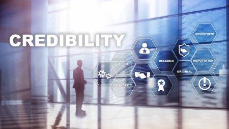 Photo pour Concept d'amélioration de la crédibilité des entreprises. Exposition multiple, fond mixte - image libre de droit