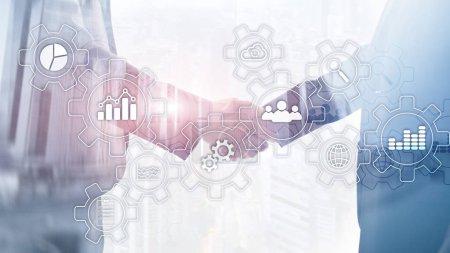 Photo pour Diagramme abstrait des processus d'affaires avec des engrenages et des icônes. Concept de technologie de flux de travail et d'automatisation - image libre de droit