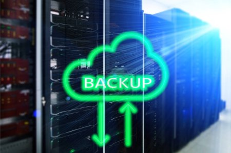 Backup System Recovery Technology Concept on modern server room background