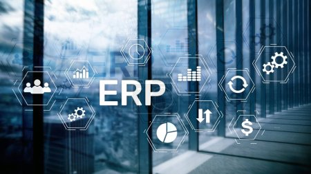 Photo for ERP system, Enterprise resource planning on blurred background. Business automation and innovation concept - Royalty Free Image