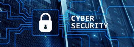 Photo pour En-tête du site Web. Concept de cybersécurité, de confidentialité des informations et de protection des données sur fond de salle de serveurs . - image libre de droit