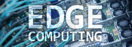 Photo for Web site header. EDGE computing, internet and modern technology concept on modern server room background. - Royalty Free Image