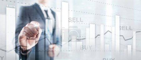 Photo pour Graphique de trading d'actions financières diagramme graphique concept de financement des entreprises double exposition techniques mixtes - image libre de droit