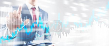 Photo for Stock trading candlestick chart and diagrams on blurred office center background - Royalty Free Image