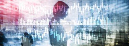 Photo pour Graphique à bougies graphique graphique trading d'actions investissement entreprise finance concept mixte double exposition écran virtuel . - image libre de droit