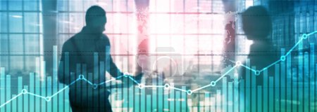Photo for Business finance growth graph chart analysing diagram trading and forex exchange concept double exposure mixed media background website header - Royalty Free Image