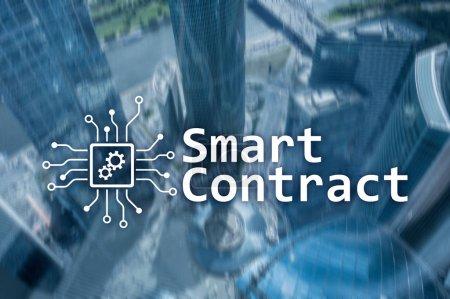 Photo pour Contrat intelligent, technologie blockchain dans les affaires, finance concept high-tech. Gratte-ciel fond - image libre de droit