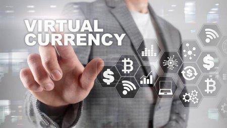 Photo pour Bureau de change virtuel, concept d'investissement. Symboles de devise sur un écran virtuel. Technologie financière Contexte. - image libre de droit