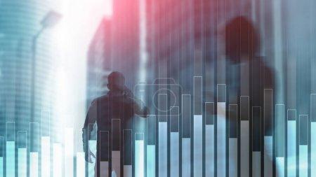 Photo pour Blue Business et le graphique des finances sur fond flou. Concept de trading, d'investissement et d'économie . - image libre de droit