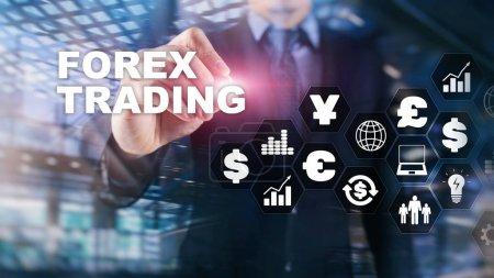 Photo pour Forex trading change de devises business finance diagrammes dollar euro icônes sur fond flou - image libre de droit