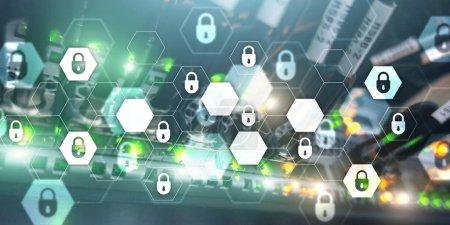 Photo pour Cybersécurité abstraite technologie bannière arrière-plan. Protection des données, confidentialité des informations . - image libre de droit