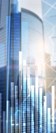 Photo pour Bannière de panorama verticale. Graphique de croissance financière. Augmentation des ventes, concept de stratégie marketing . - image libre de droit