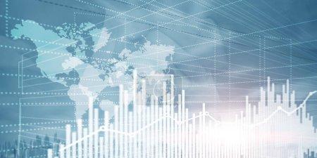 Photo pour Graphique des finances des entreprises. Trading Forex Exchange Investment Fintech concept. Techniques mixtes . - image libre de droit