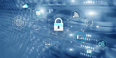 Foto de Concepto de protección de la privacidad de la información de seguridad cibernética de candado. - Imagen libre de derechos