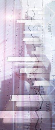 Photo pour Bannière de panorama verticale. Graphique de trading d'actions financières diagramme graphique concept de financement des entreprises double exposition techniques mixtes - image libre de droit