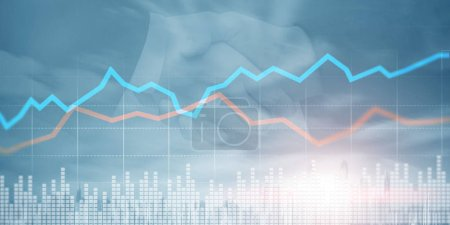 Photo pour Marché boursier ou graphique de trading forex. Trading Concept d'investissement. Ligne bleue et rouge . - image libre de droit