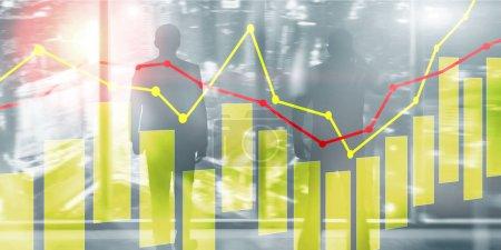 Photo pour Bougies jaunes et rouges et graphiques sur fond de technologie d'entreprise - image libre de droit